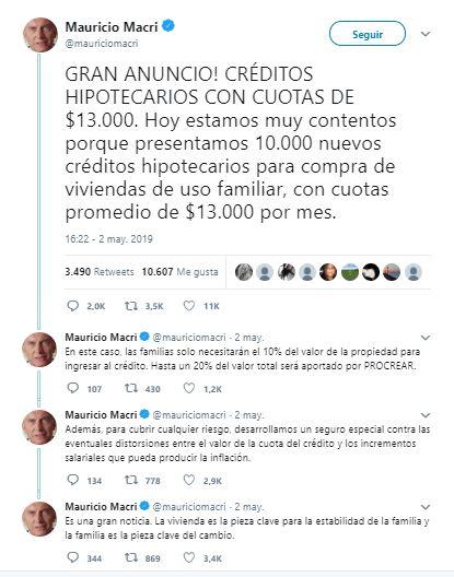Tweet Mauricio Macri Procrear y Créditos UVA